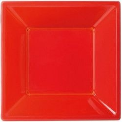 Assiettes plastiques creuses rouges Déco festive 118650