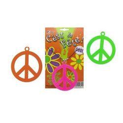 Collier Peace and Love fluo UV réfléchissant Accessoires de fête 81414