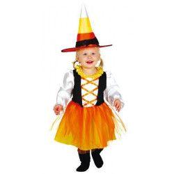 Déguisements, Déguisement petite sorcière orange et noire 6 à 12 mois, 83034, 15,80€