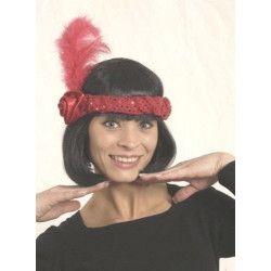 Bandeau charleston paillettes rouges avec plumes Accessoires de fête 834865392