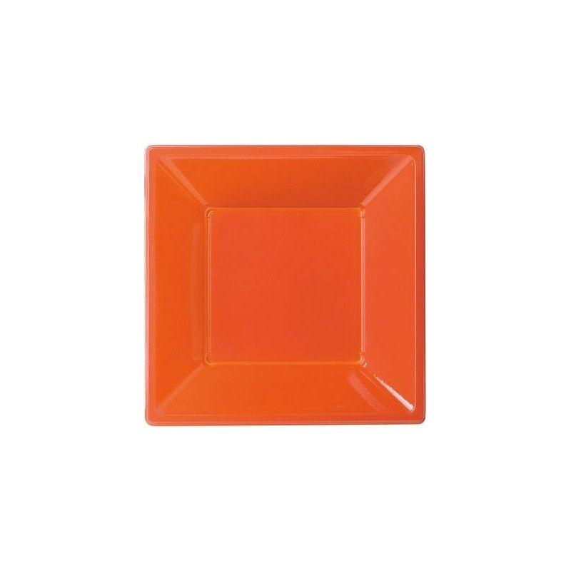 Assiettes plastiques creuses orange Déco festive 120852