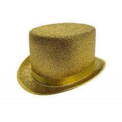 Haut de forme tissu or Accessoires de fête 8430238
