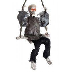 Squelette 90 cm sur balançoire avec son et lumière Déco festive 8454