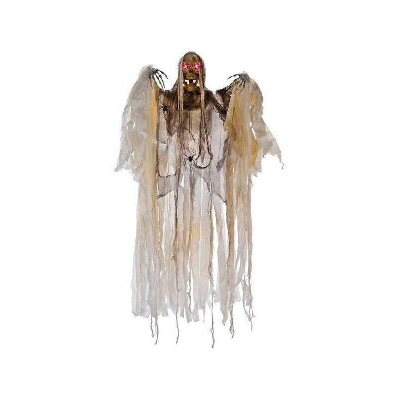 Squelette 160 cm à suspendre avec araignées et yeux lumineux Déco festive 8455