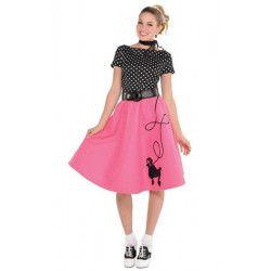 Déguisement robe rose et noire années 50 femme taille S Déguisements 847819