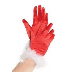 Gants rouges de Mère Noël adulte Accessoires de fête 848030