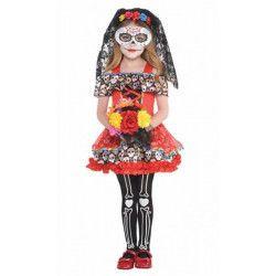 Déguisements, Déguisement Sugar Skull Jour des Morts fille 4-6 ans, 848664, 39,90€