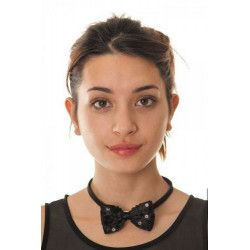 Noeud papillon sequin noir Accessoires de fête 8550