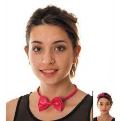 Serre tête noeud papillon satin rose Accessoires de fête 8554