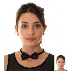 Serre tête noeud papillon satin noir Accessoires de fête 8555