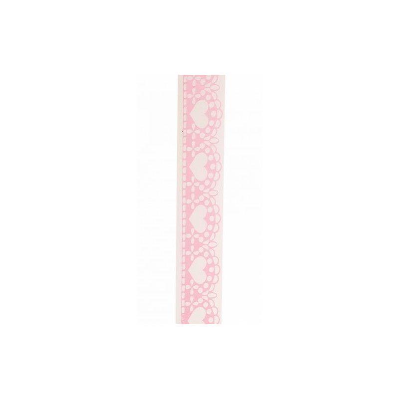 Rouleau dentelle rose autocollante 1 m Déco festive 12493