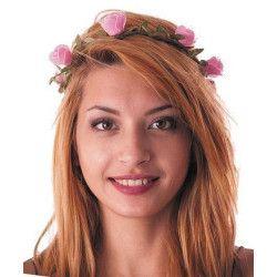 Couronne de fleurs roses Accessoires de fête 86238