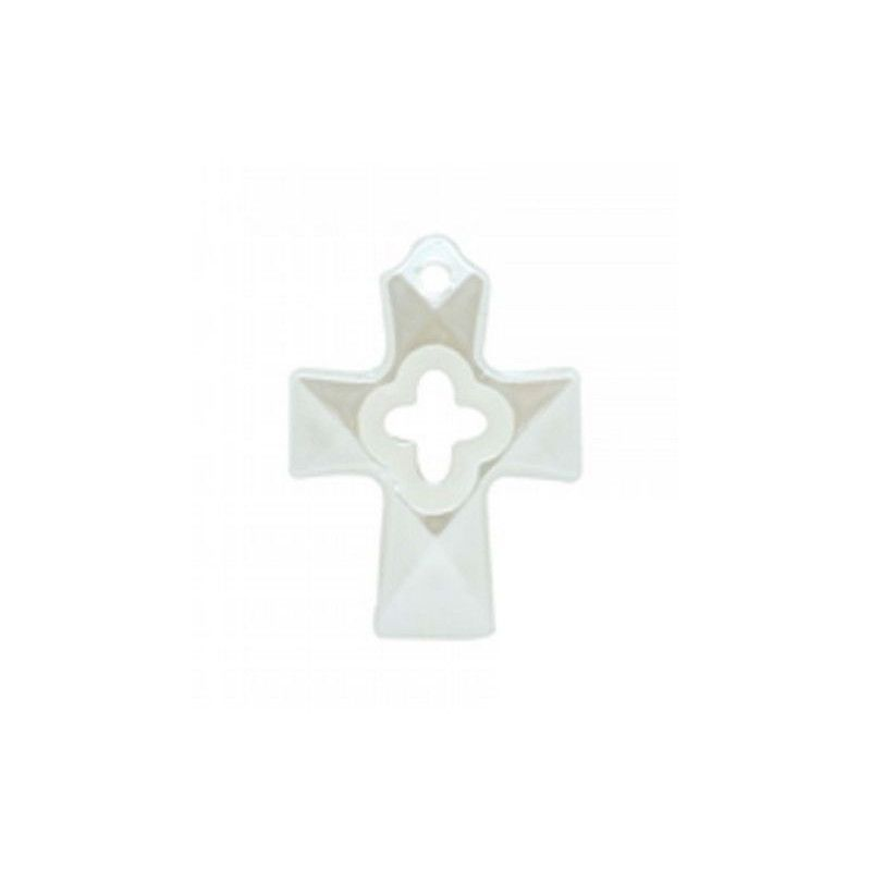 Sachet 10 bijoux croix en nacre 2.4 cm Déco festive 12567