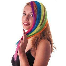 Mèche de cheveux rose néon à clipser Accessoires de fête 86246