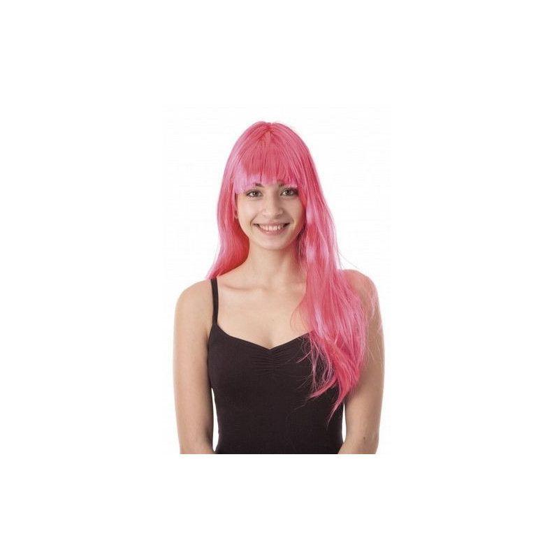 Perruque Lola longue néon rose Accessoires de fête 86285