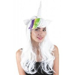 Perruque longue licorne blanche Accessoires de fête 862931