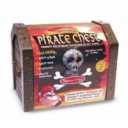 Coffre trésor en bois de pirate Déco festive 12576