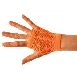 Mitaines fluo courtes orange Accessoires de fête 86502307