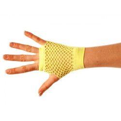 Mitaines fluo courtes jaunes Accessoires de fête 86502308