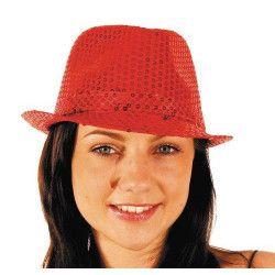 Borsalino à sequins rouge Accessoires de fête 865090605