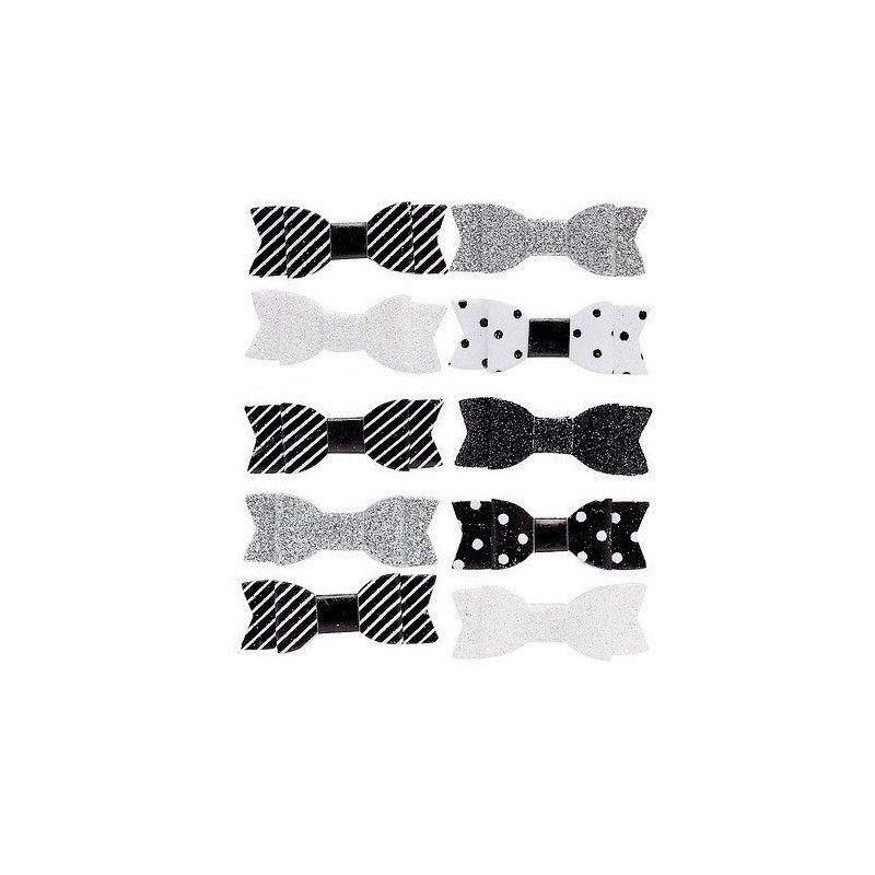 Noeuds noirs et blancs autocollants x 10 Déco festive 12678