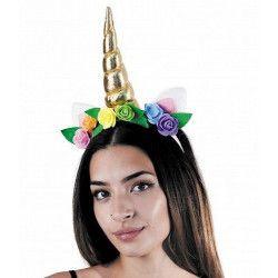 Serre-tête corne licorne et fleurs multicolores Accessoires de fête 865109