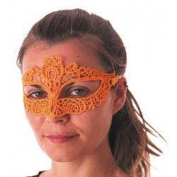 Loup en dentelle orange fluo Accessoires de fête 865121