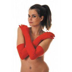 Gants longs rouges Accessoires de fête 86529
