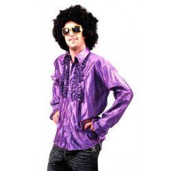 Chemise disco à jabot violette taille adulte Déguisements 8653155