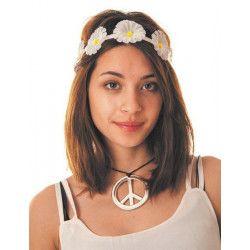 Bandeau hippie fleurs blanches Accessoires de fête 86538