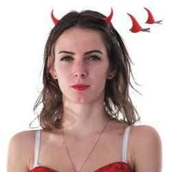 Barrettes rouges cornes de diable Accessoires de fête 8655006
