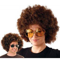 Perruque afro châtain Accessoires de fête 865502