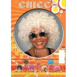 Perruque afro blanche Accessoires de fête 865506