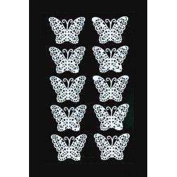 Papillon en dentelle blanche x 10 à coller Déco festive 12728