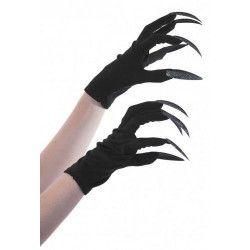 Gants noirs sorcière avec griffes pailletées noires Accessoires de fête 86593