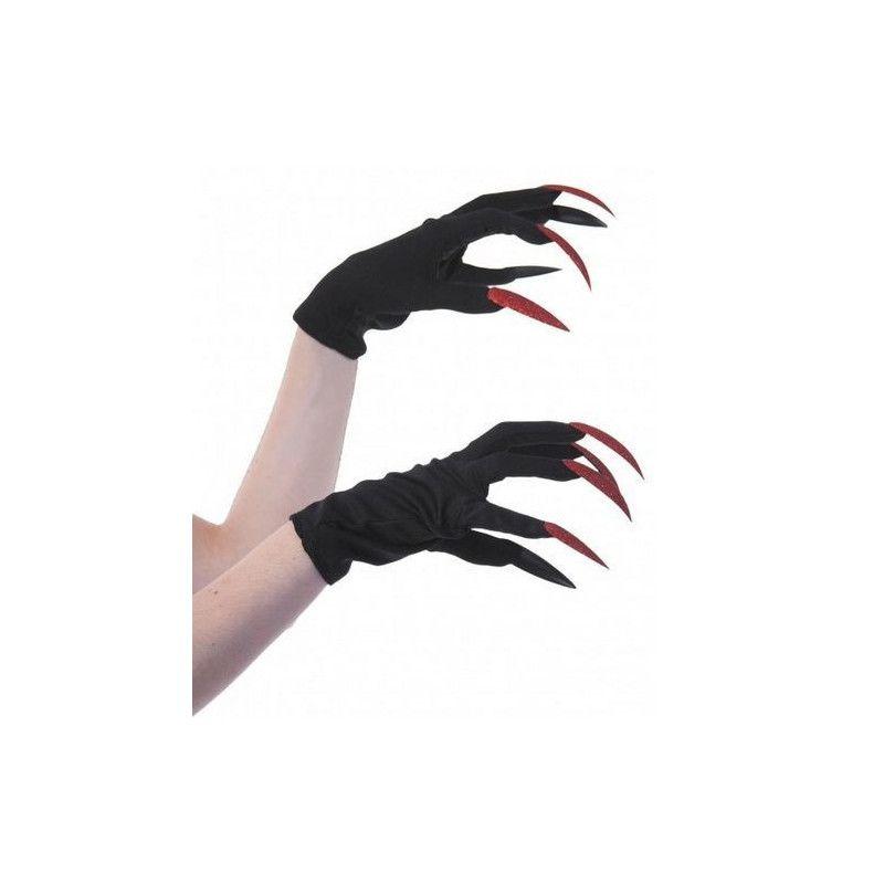 Gants noirs sorcière avec griffes pailletées rouges Accessoires de fête 86594