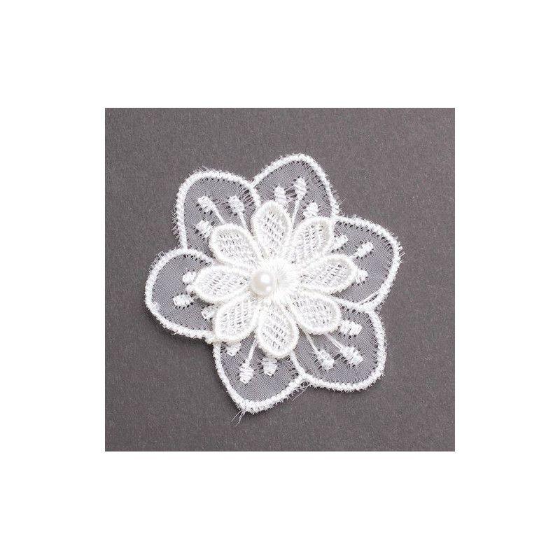 Fleur en dentelle et perle blanches x 3 mariage Déco festive 12738