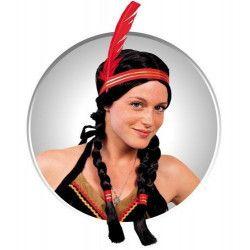 Accessoires de fête, Perruque indienne avec nattes et plume, 872283, 11,90€