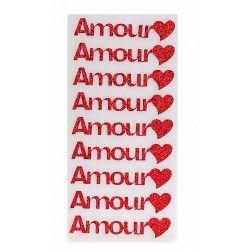 Déco festive, Autocollant Amour rouge x 9, 12781, 2,70€