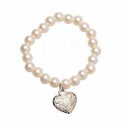 Bracelet perles et coeur argenté mariage Déco festive 12816