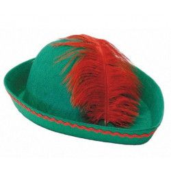 Chapeau Robin des Bois avec plume rouge Accessoires de fête 873001