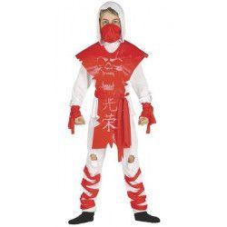 Déguisements, Déguisement ninja rouge et blanc enfant 5-6 ans, 87407, 19,90€