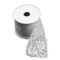 Déco festive, Ruban dentelle coton blanc 7cmx2m, 884, 3,60€