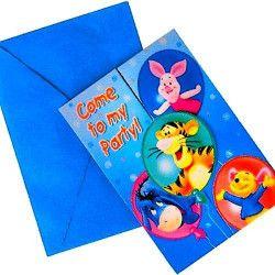 Déco festive, Cartes d'invitation Winnie avec enveloppes, 88562, 2,85€
