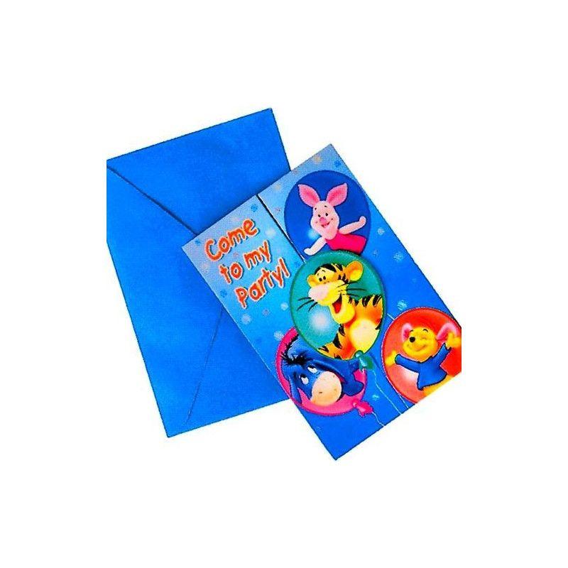 Cartes d'invitation Winnie avec enveloppes Déco festive 88562