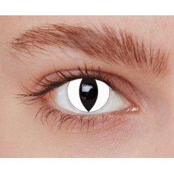 Lentilles fantaisie yeux chat blanc annuelles Accessoires de fête 887012