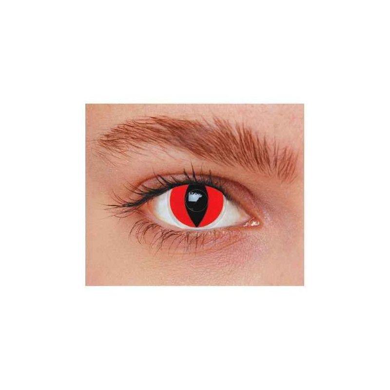 Lentilles fantaisie yeux chat rouges annuelles Accessoires de fête 887021
