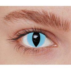 Lentilles fantaisie yeux chat bleus annuelles Accessoires de fête 887026