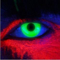 Accessoires de fête, Lentilles de contact vert néon fluorescentes UV, 887036, 22,50€