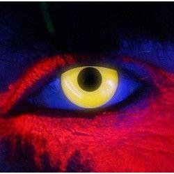 Accessoires de fête, Lentilles de contact jaune Néon fluorescentes UV, 887039, 22,50€